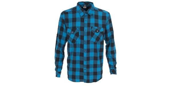 Pánska modrá košeľa s kockovaným vzorom Trespass