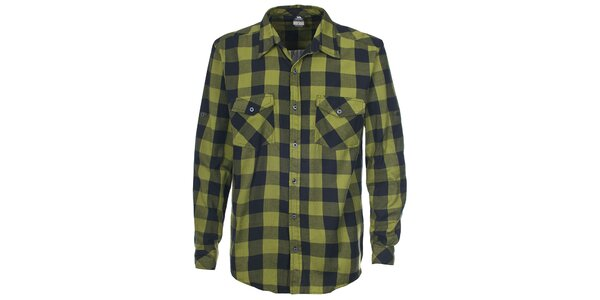 Pánska zelená košeľa s kockovaným vzorom Trespass
