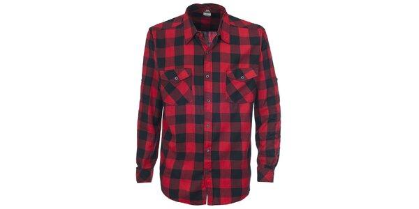 Pánska červená košeľa s kockovaným vzorom Trespass
