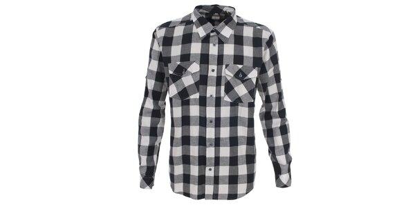 Pánska biela košeľa s kockovaným vzorom Trespass