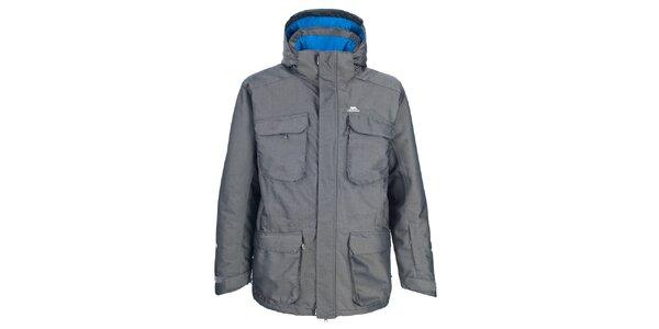 Pánska šedá zimná bunda s veľkými vreckami Trespass