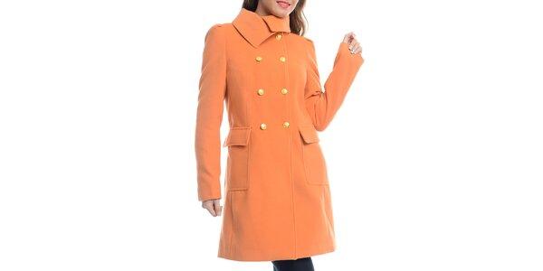 Dámsky dvojradový oranžový kabát Vera Ravenna
