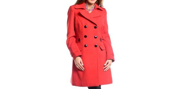 Dámsky červený dvojradový kabát Vera Ravenna