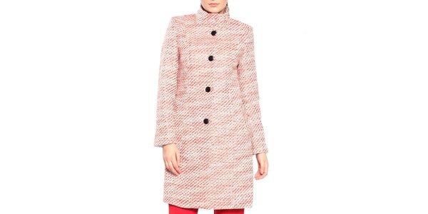 Dámsky červeno-biely vzorovaný kabát Vera Ravenna 6f2e6f59e29