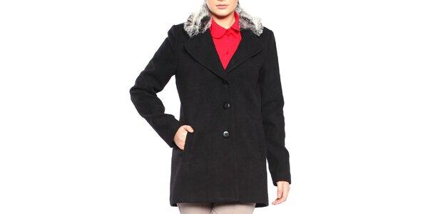 Dámsky čierny krátký kabát s kožúškom Vera Ravenna