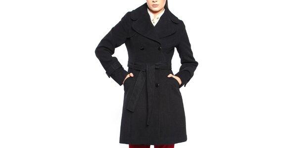 Dámsky čierny dvojradový kabát s opaskom Vera Ravenna