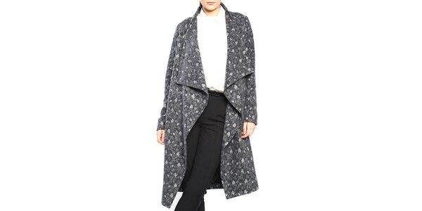 Dámsky šedý vzorovaný kabát Vera Ravenna