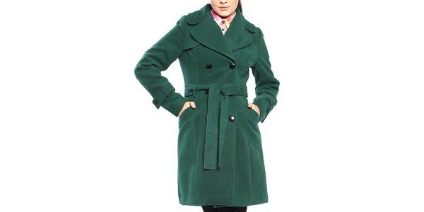 Dámsky tmavo zelený dvojradový kabát s opaskom Vera Ravenna
