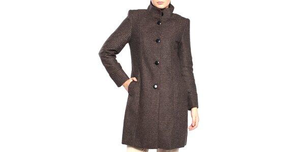Dámsky hnedý kabát s prúžkami Vera Ravenna