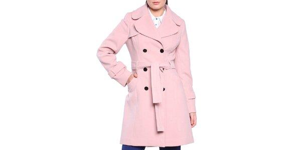 Dámsky svetlo ružový dvojradový kabát s opaskom Vera Ravenna