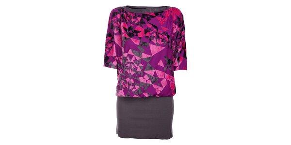 Dámske fialovo-šedé šaty Custo Barcelona s plyšovým vzorom