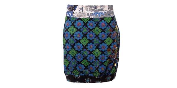 Dámska modro-zelená sukňa Desigual