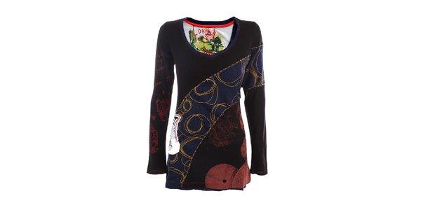 Dámske čierno-modré tričko s farebnými aplikáciami DY Dislay Design