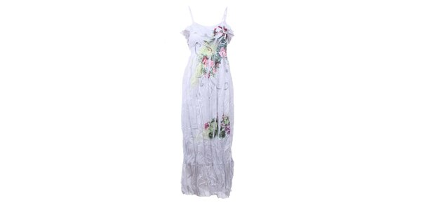 Dámske biele dlhé pokrčené šaty Dislay DY Design