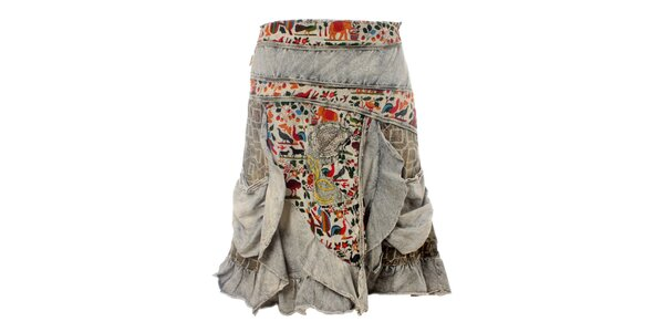 Dámska šedá sukňa so zvieracím vzorom Savage Culture