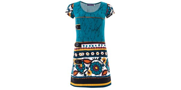 Dámske modré šaty s kvetinovým vzorom Purple Jam