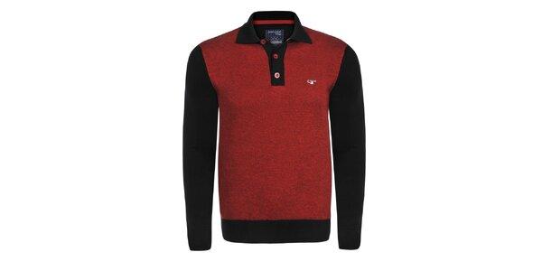 Pánsky červeno-čierny sveter s límčekom Giorgio Di Mare
