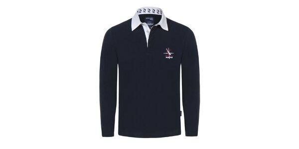 Pánske tmavo modré tričko s bielym límčekom Giorgio Di Mare