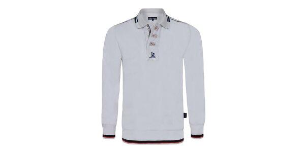 Pánske biele polo tričko s dlhým rukávom Giorgio Di Mare