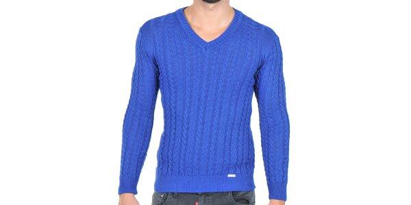Pánsky modrý sveter s vrkočovým vzorom Giorgio di Mare