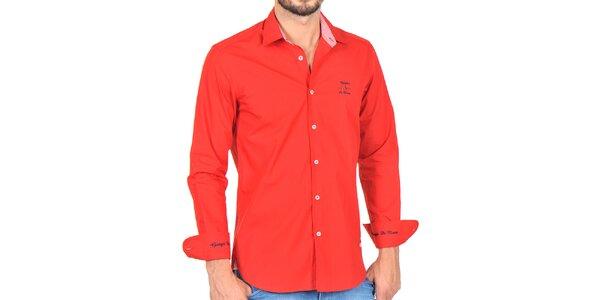 Pánska červená košeľa s modrými výšivkami Giorgio di Mare