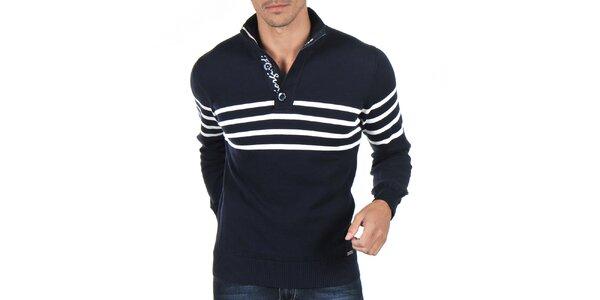 Pánsky tmavo modrý sveter s bielymi prúžkami Giorgio di Mare