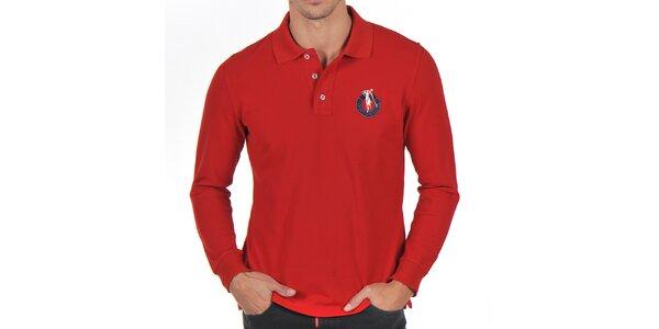 Pánske červené bavlnené polo tričko Giorgio Di Mare