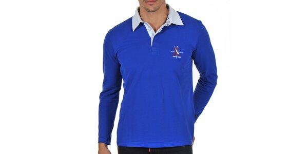 Pánske modré polo tričko s dlhým rukávom Giorgio Di Mare