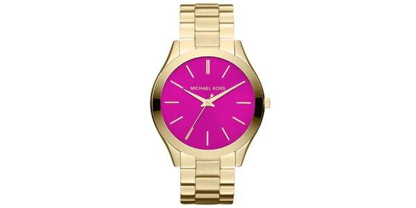Dámske pozlátené hodinky s fuchsiovým ciferníkom Michael Kors
