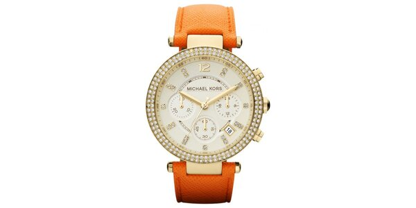 Dámske hodinky s oranžovým koženým remienkom Michael Kors