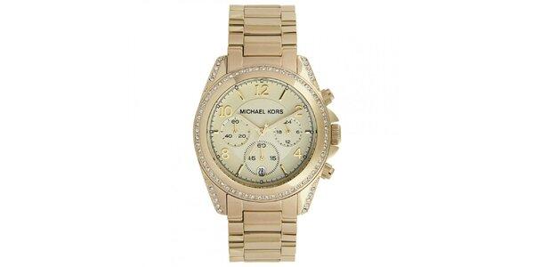 Dámske hodinky z pozlátenej ušľachtilej ocele so zirkónmi na lunete Michael Kors