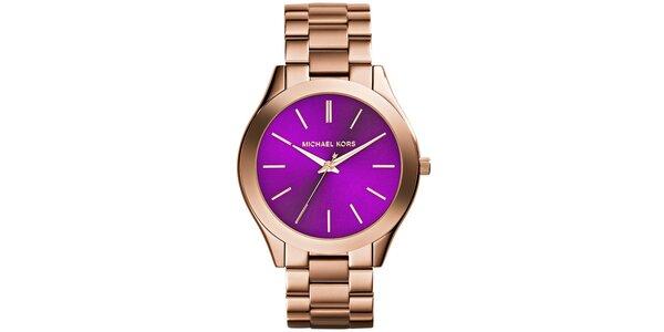 Dámske pozlátené hodinky s fialovým ciferníkom Michael Kors