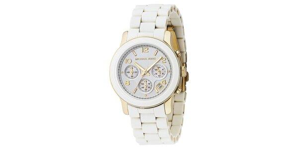 Dámske biele hodinky so zlatými prvkami Michael Kors