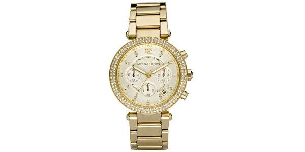 Dámske oceľové hodinky se zdobenou lunetou Michael Kors - zlatá farba