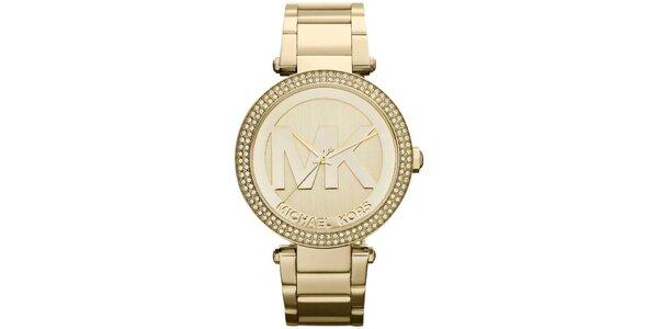 Dámske pozlátené hodinky s kamienkami Michael Kors