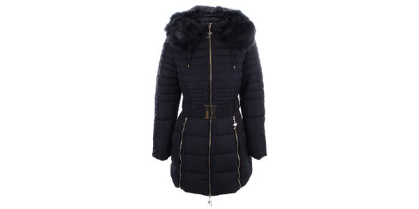 Dámsky tmavo modrý kabát s opaskom a kožúškom Foglie Rosse
