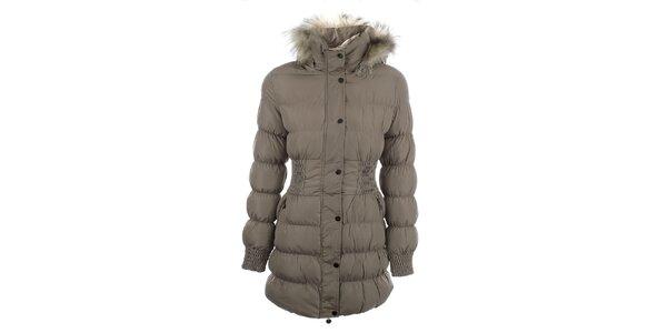 Dámsky béžový prešívaný kabát s kožúškom Adrexx
