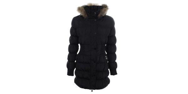 Dámsky čierny prešívaný kabát s kožúškom Adrexx