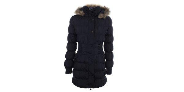 Dámsky tmavo modrý prešívaný kabát s kožúškom Adrexx