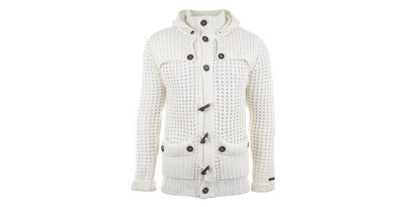 Pánsky krémový sveter s tmavými gombíkmi Gaudí