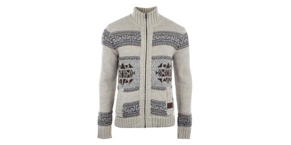 Pánsky béžový sveter so vzorom a vreckami Gaudí