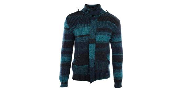 Pánsky zelený pruhovaný sveter s vreckami Gaudí