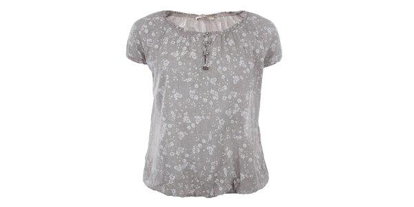 Dámske voľné šedé tričko s kvetinami Gaudí