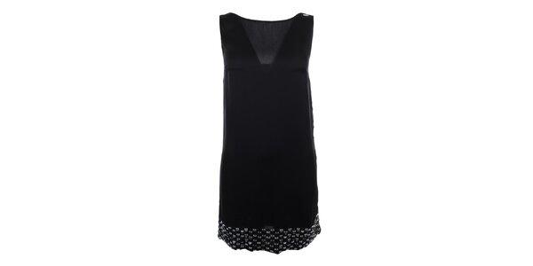 Dámske čierne šaty s kamienkovým lemom Gaudí