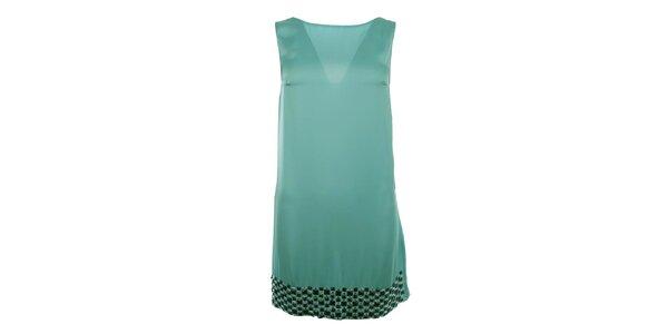 Dámske modré šaty s kamienkovým lemom Gaudí