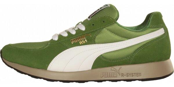 Pánske svetlo zelené tenisky Puma s bielym pruhom