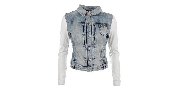 Dámska džínsová bunda s bielymi rukávmi Gaudí