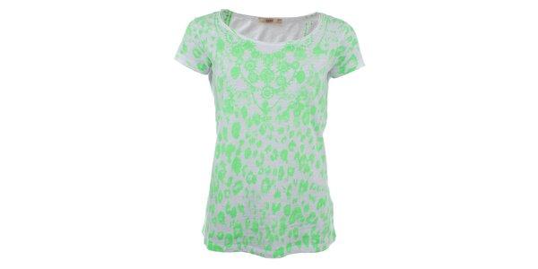 Dámske biele tričko so zelenou potlačou Gaudí