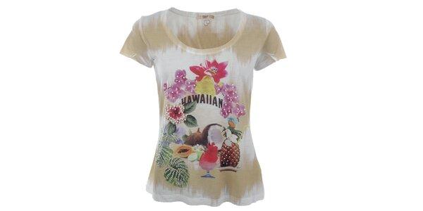 Dámske béžovo-biele tričko s tropickou potlačou Gaudí