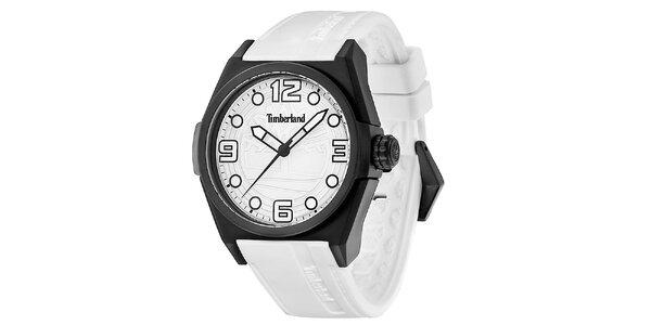 Pánske biele hodinky s čiernym guľatým púzdrom Timberland
